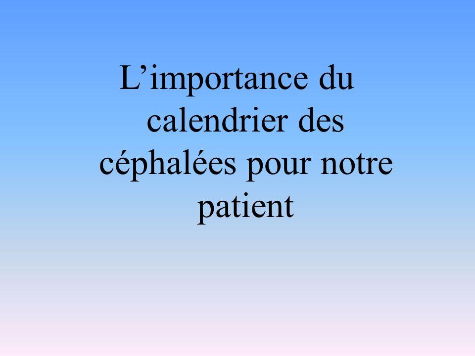 L'importance du calendrier des céphalées pour notre patient