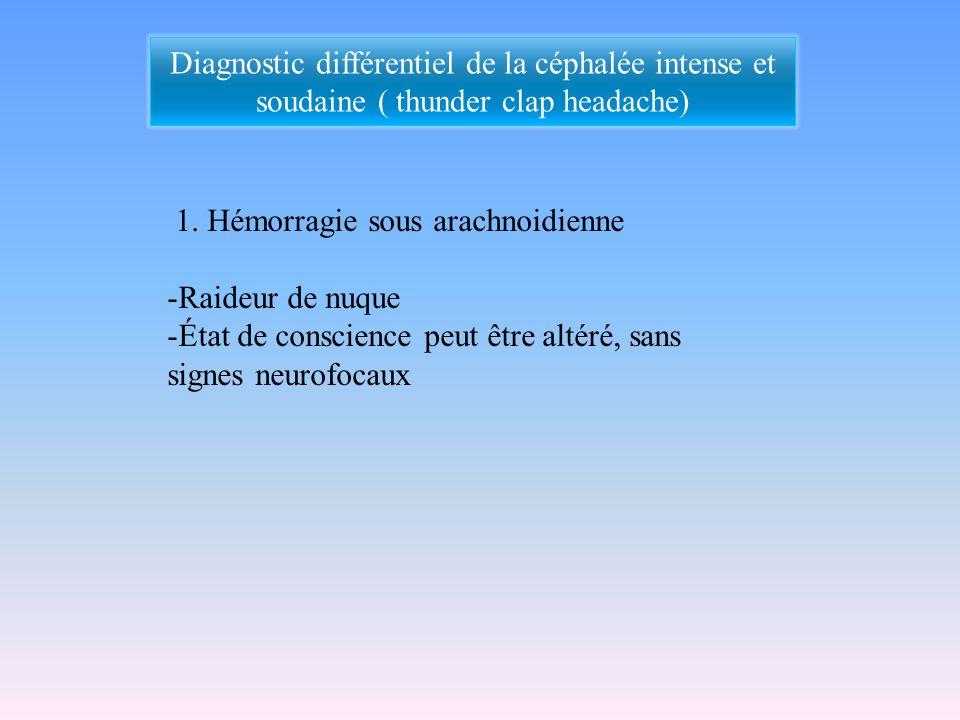 Diagnostic différentiel de la céphalée intense et soudaine ( thunder clap headache)