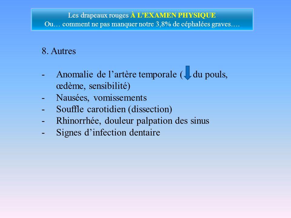 Anomalie de l'artère temporale ( du pouls, œdème, sensibilité)