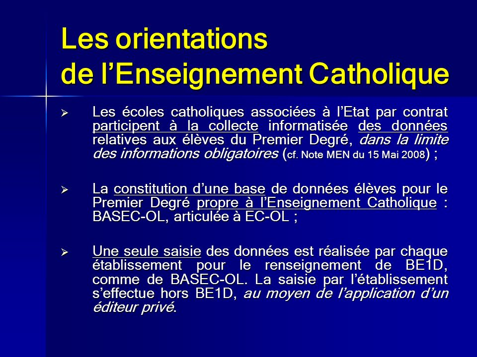 Les orientations de l'Enseignement Catholique