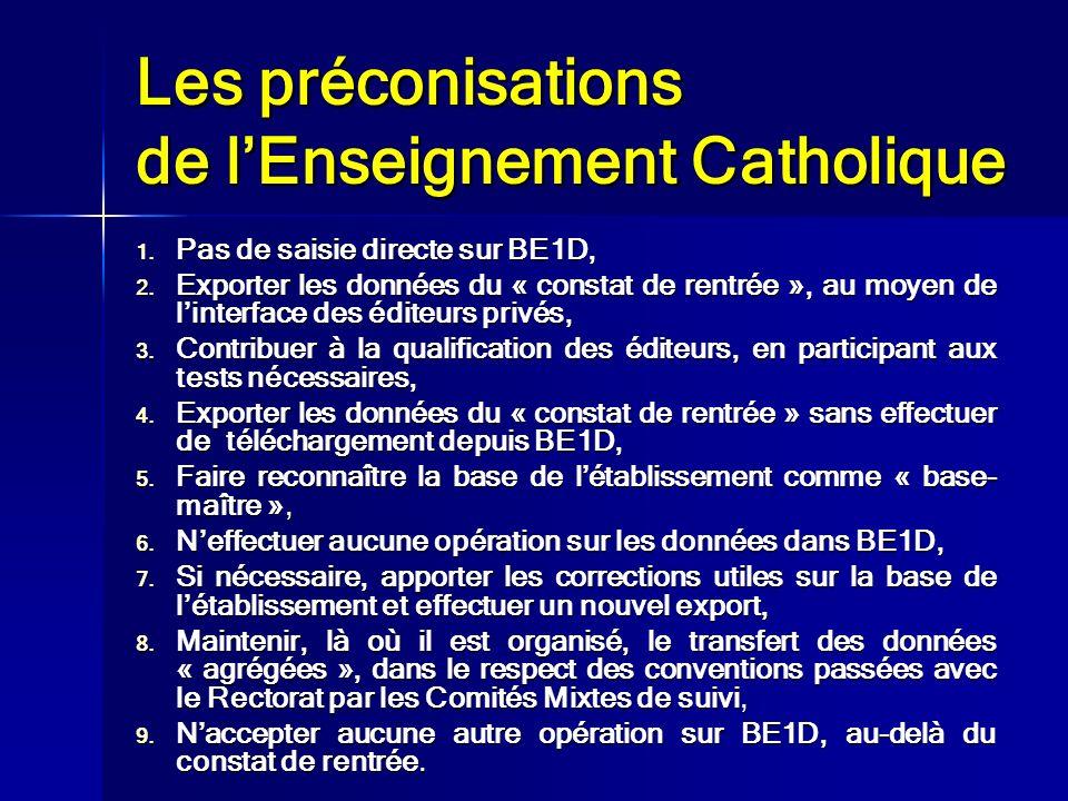 Les préconisations de l'Enseignement Catholique
