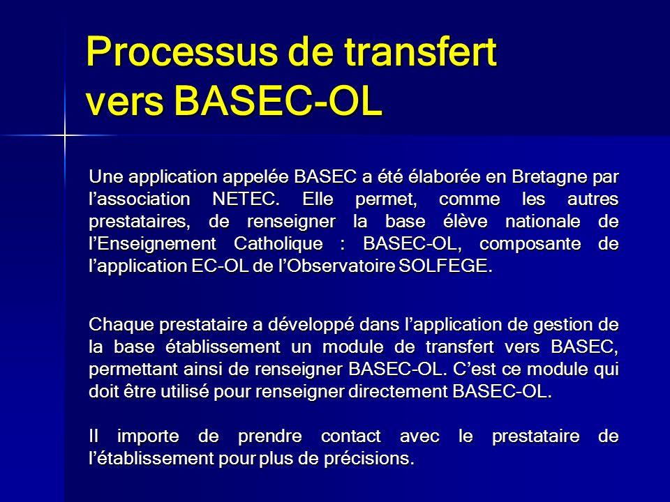 Processus de transfert vers BASEC-OL