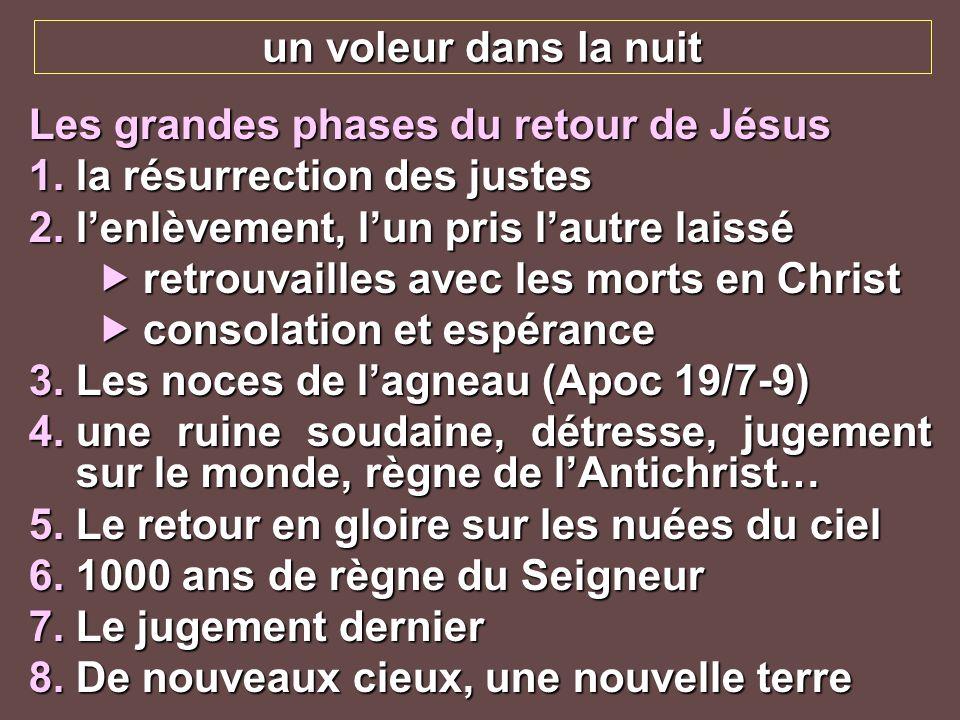 un voleur dans la nuit Les grandes phases du retour de Jésus. la résurrection des justes. l'enlèvement, l'un pris l'autre laissé.