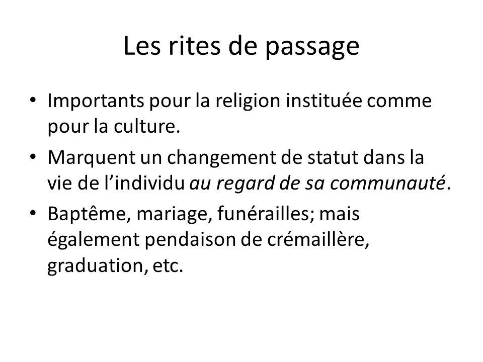 Les rites de passage Importants pour la religion instituée comme pour la culture.
