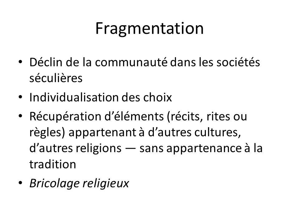 Fragmentation Déclin de la communauté dans les sociétés séculières