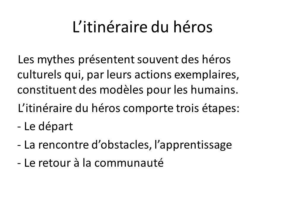 L'itinéraire du héros Les mythes présentent souvent des héros culturels qui, par leurs actions exemplaires, constituent des modèles pour les humains.
