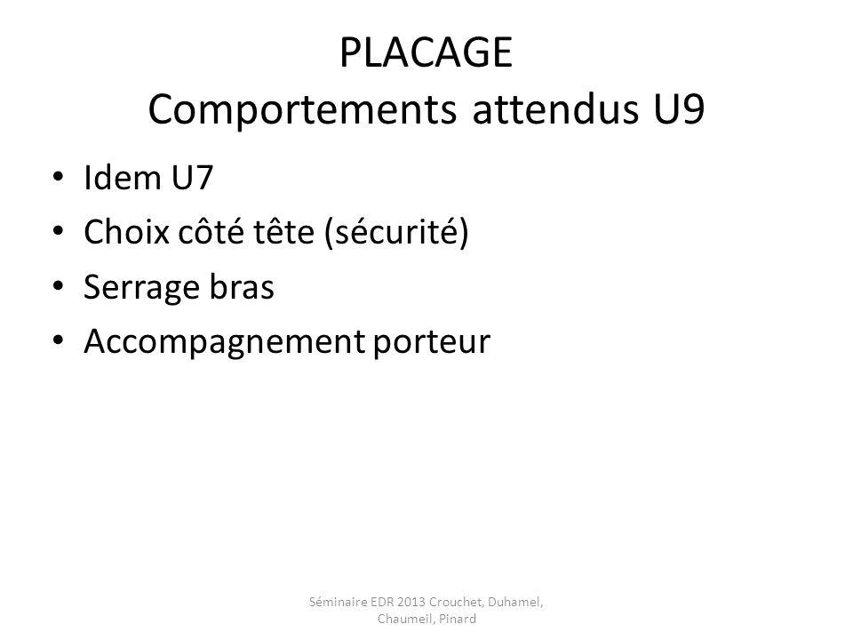 PLACAGE Comportements attendus U9