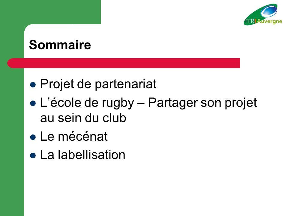 Sommaire Projet de partenariat. L'école de rugby – Partager son projet au sein du club. Le mécénat.