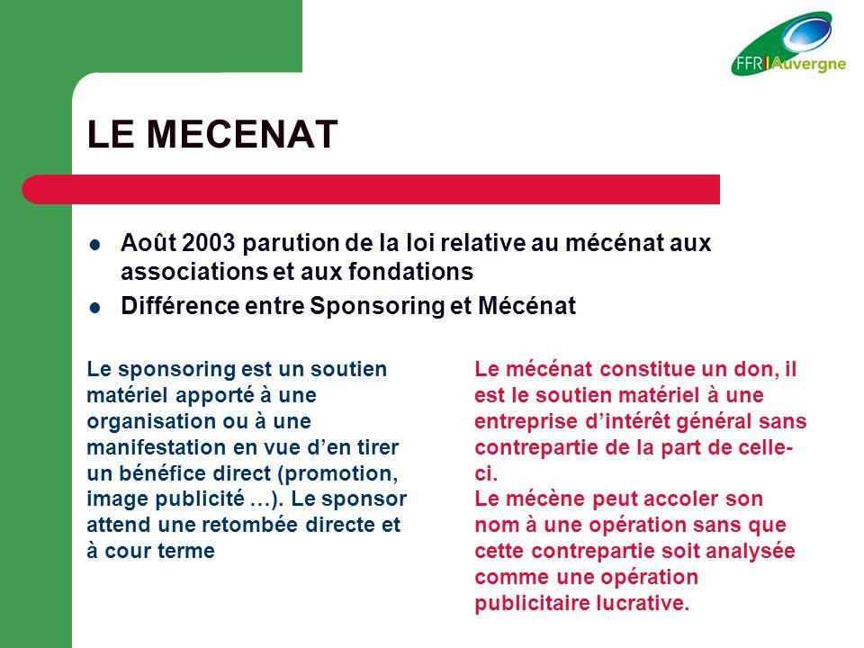 LE MECENAT Août 2003 parution de la loi relative au mécénat aux associations et aux fondations. Différence entre Sponsoring et Mécénat.