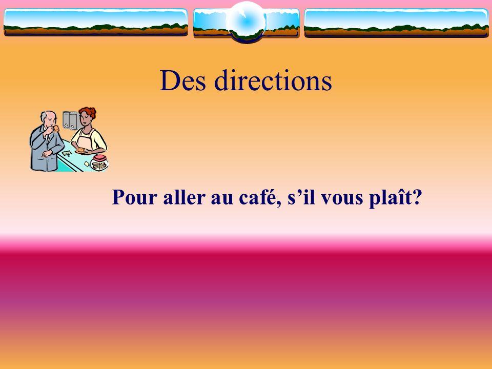 Des directions Pour aller au café, s'il vous plaît