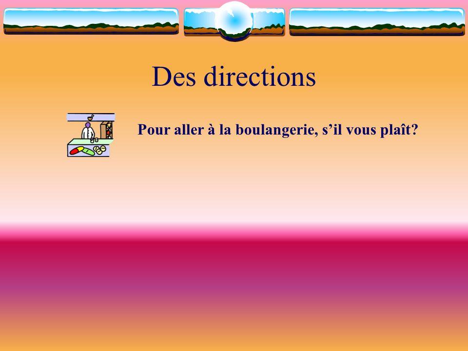 Des directions Pour aller à la boulangerie, s'il vous plaît