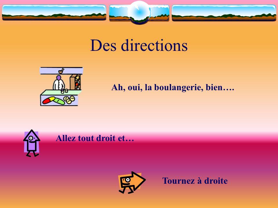 Des directions Ah, oui, la boulangerie, bien…. Allez tout droit et…