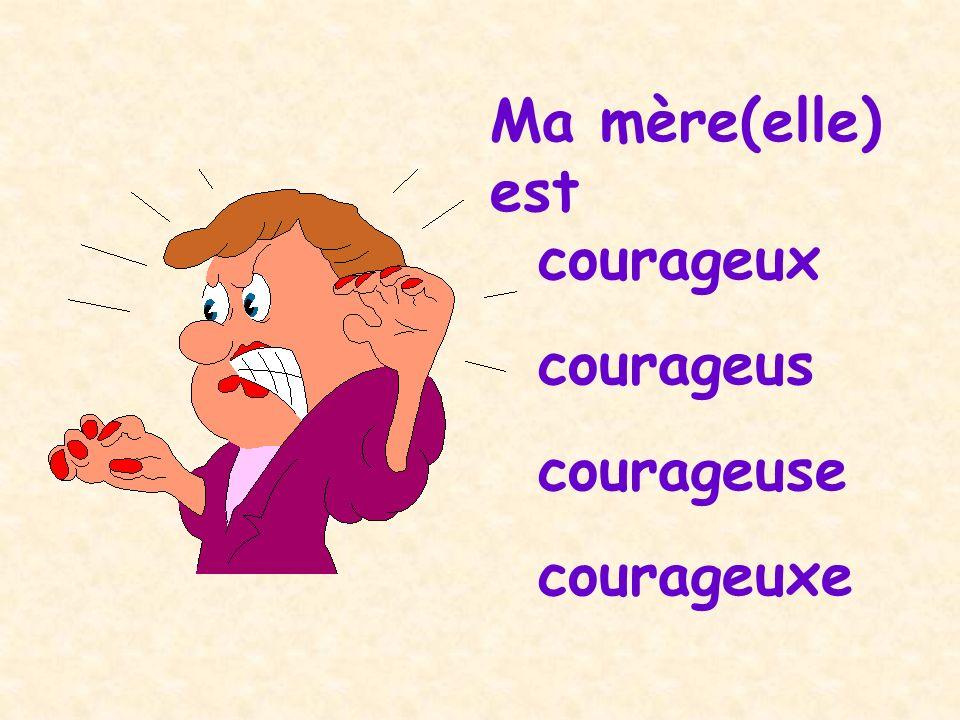 Ma mère(elle) est courageux courageus courageuse courageuxe