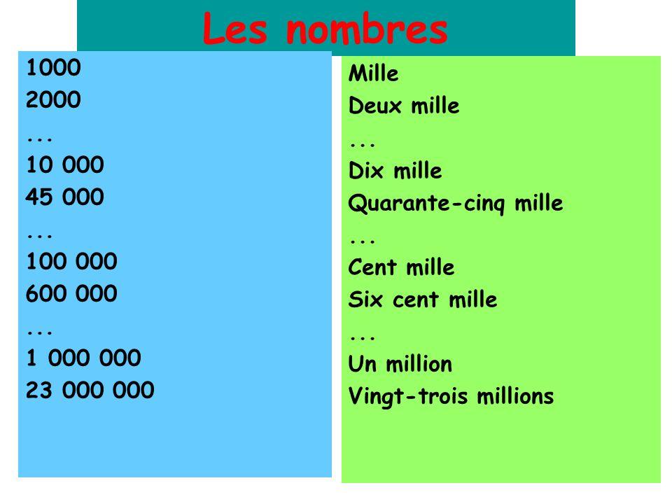 Les nombres 1000 Mille 2000 Deux mille ... ... 10 000 Dix mille 45 000