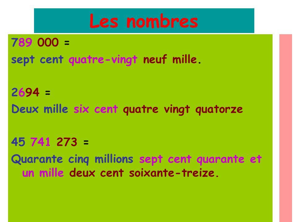 Les nombres 789 000 = sept cent quatre-vingt neuf mille. 2694 =