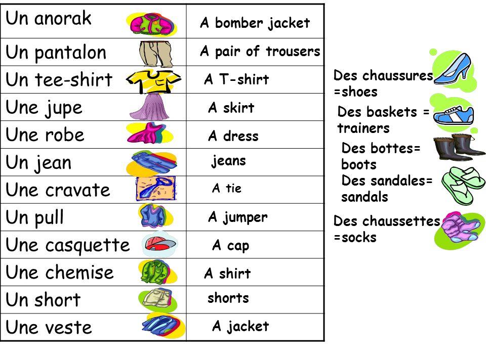 Un anorak Un pantalon Un tee-shirt Une jupe Une robe Un jean
