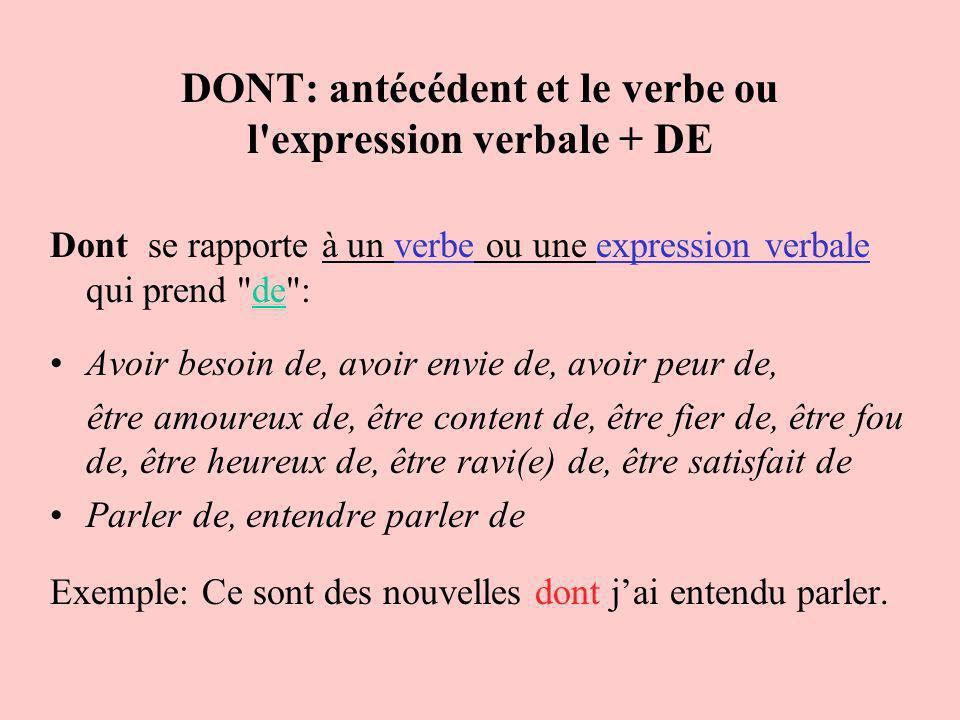 DONT: antécédent et le verbe ou l expression verbale + DE
