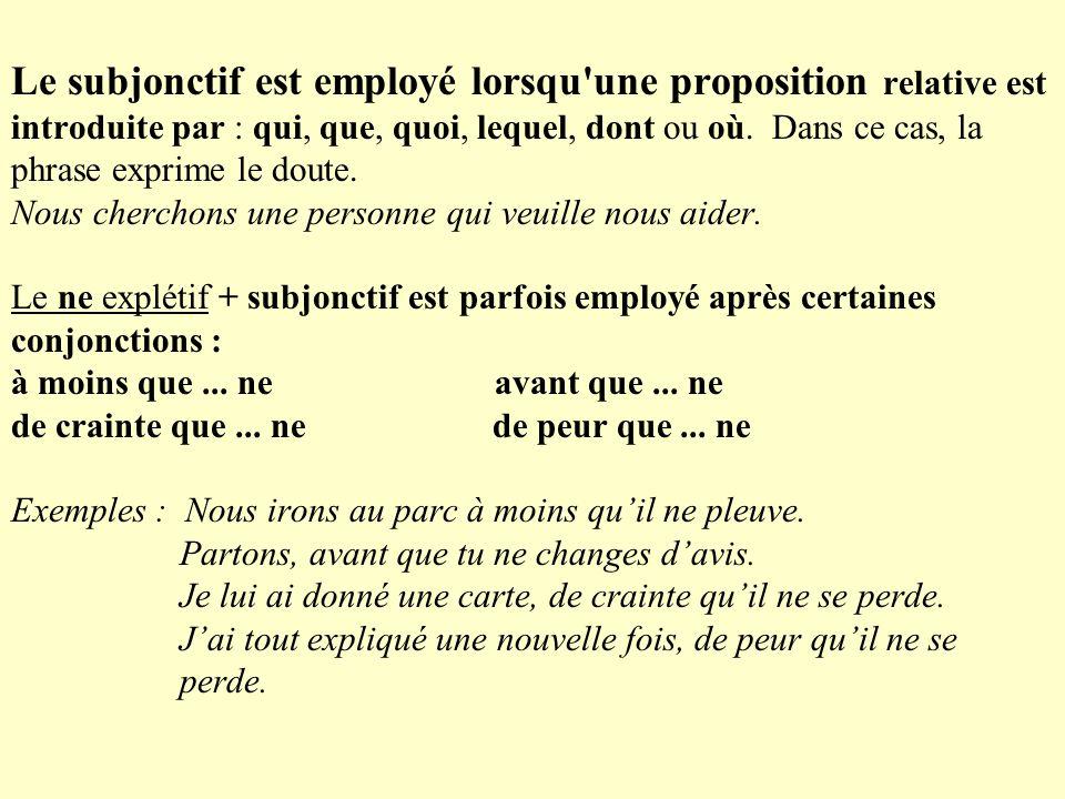 Le subjonctif est employé lorsqu une proposition relative est introduite par : qui, que, quoi, lequel, dont ou où.