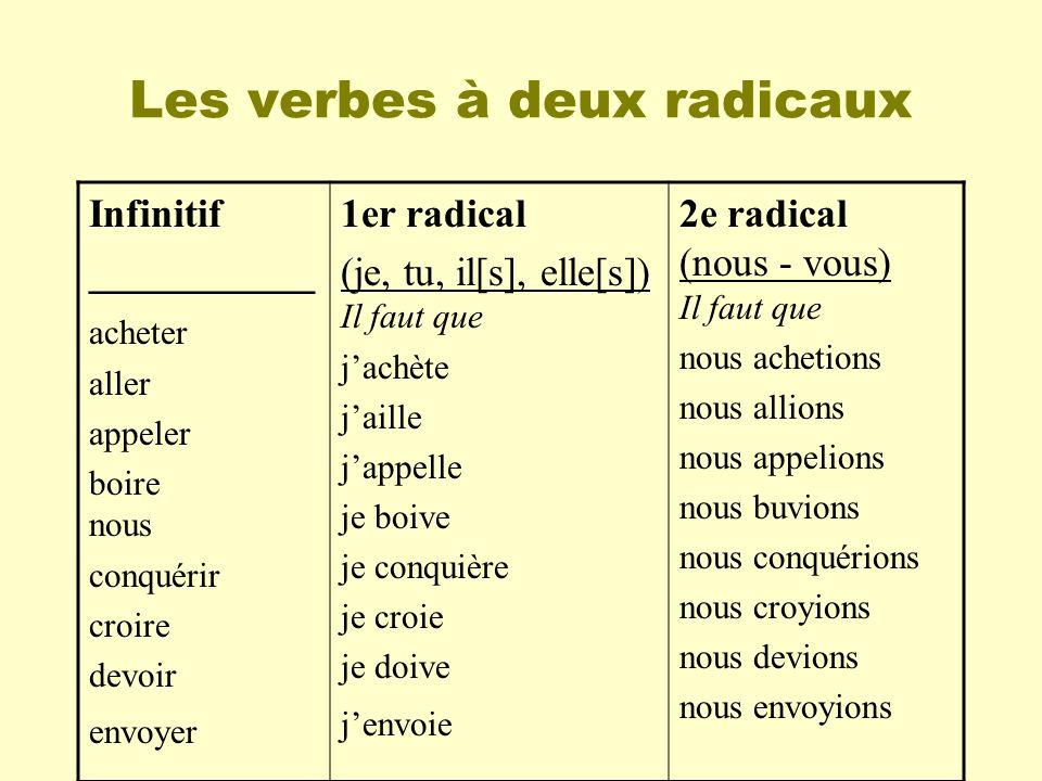 Les verbes à deux radicaux