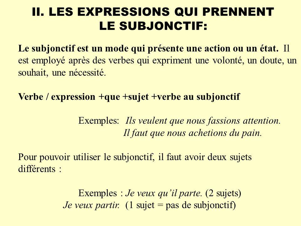 II. LES EXPRESSIONS QUI PRENNENT LE SUBJONCTIF: