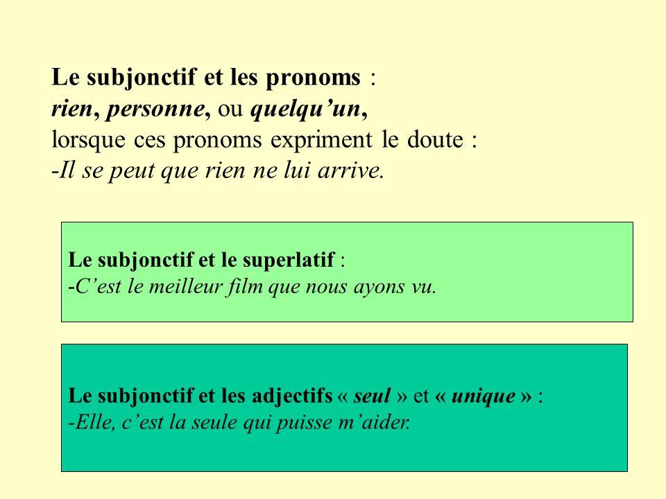 Le subjonctif et les pronoms : rien, personne, ou quelqu'un, lorsque ces pronoms expriment le doute : -Il se peut que rien ne lui arrive.
