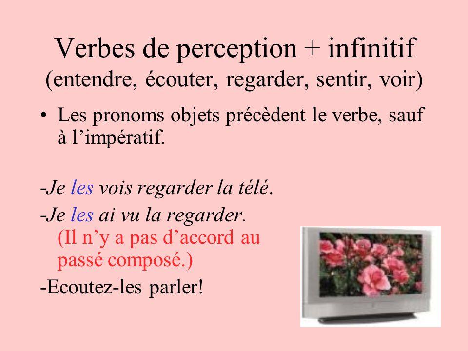 Verbes de perception + infinitif (entendre, écouter, regarder, sentir, voir)