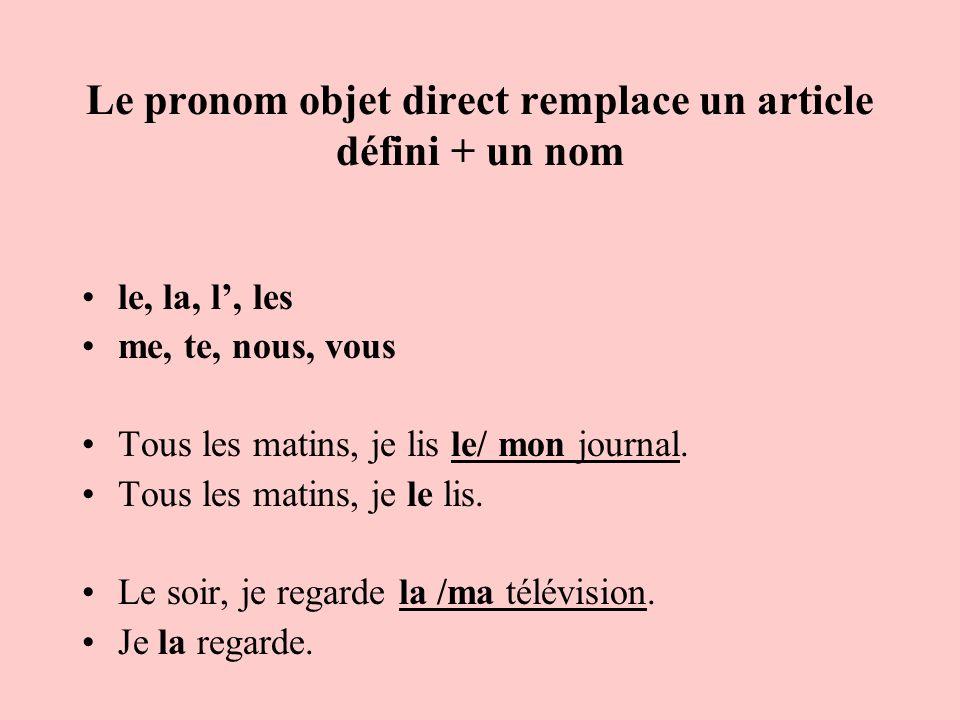 Le pronom objet direct remplace un article défini + un nom