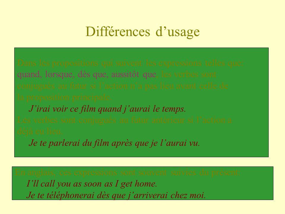 Différences d'usageDans les propositions qui suivent les expressions telles que: quand, lorsque, dès que, aussitôt que, les verbes sont.