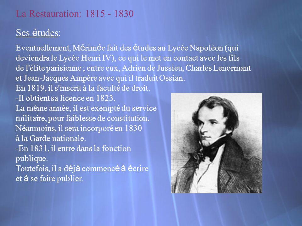 La Restauration: 1815 - 1830 Ses études: