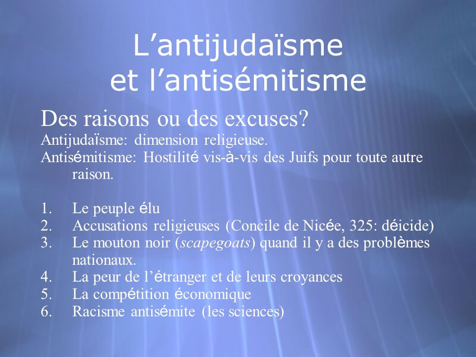 L'antijudaïsme et l'antisémitisme