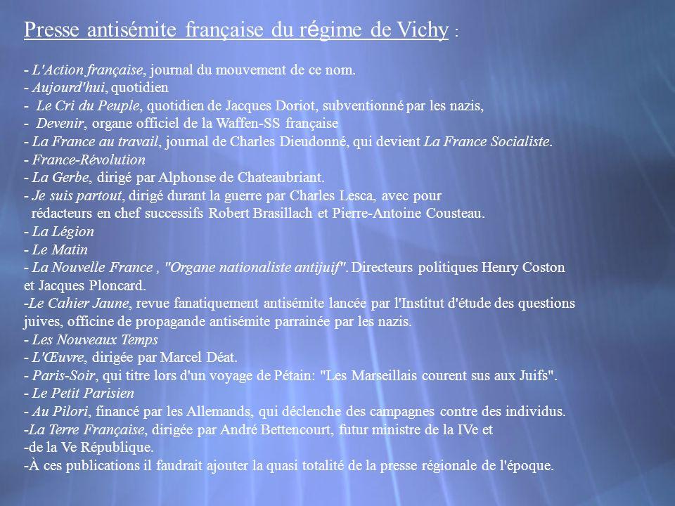 Presse antisémite française du régime de Vichy :