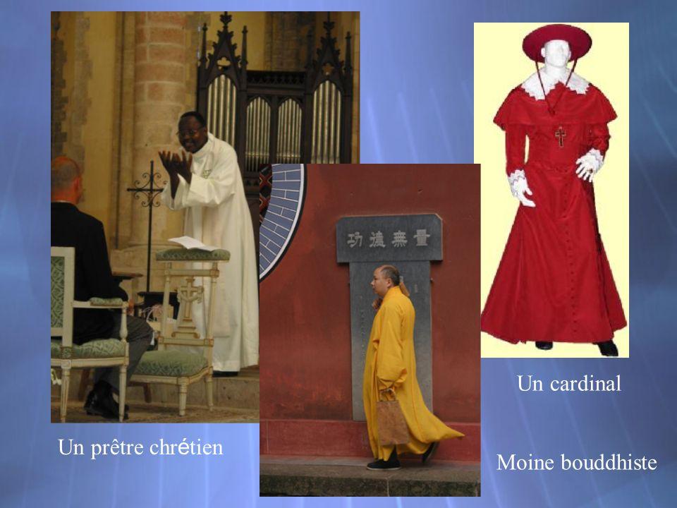 Un cardinal Un prêtre chrétien Moine bouddhiste