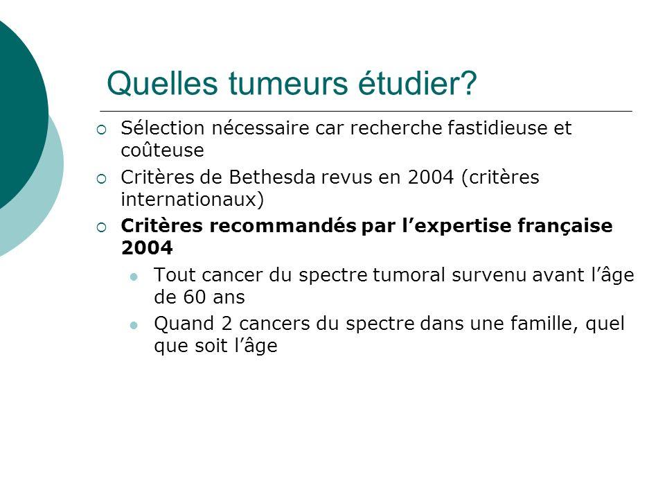 Quelles tumeurs étudier