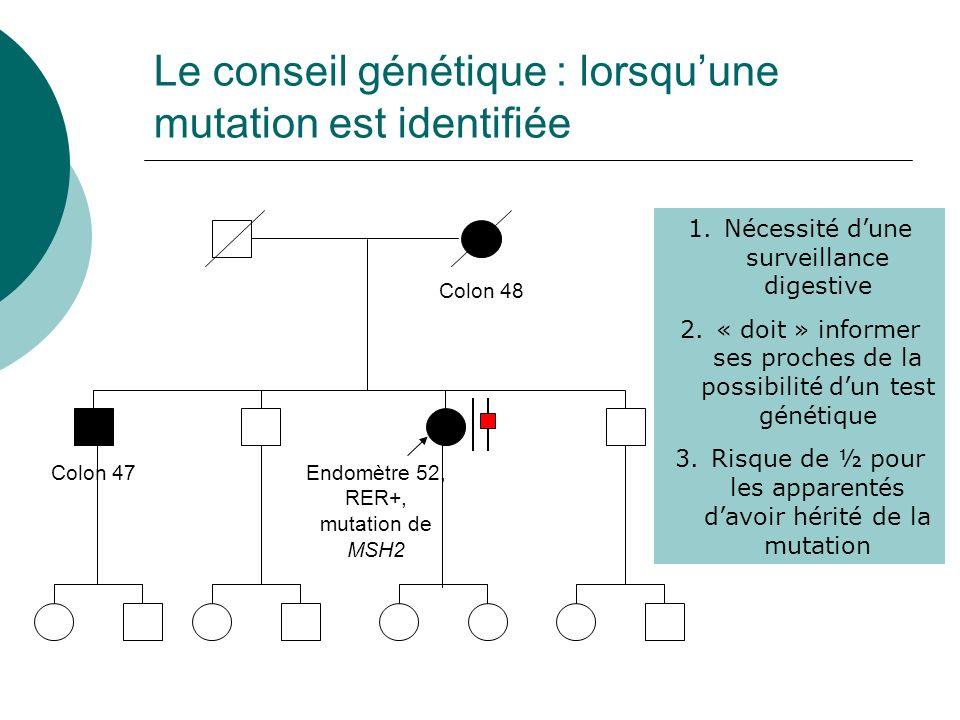 Le conseil génétique : lorsqu'une mutation est identifiée