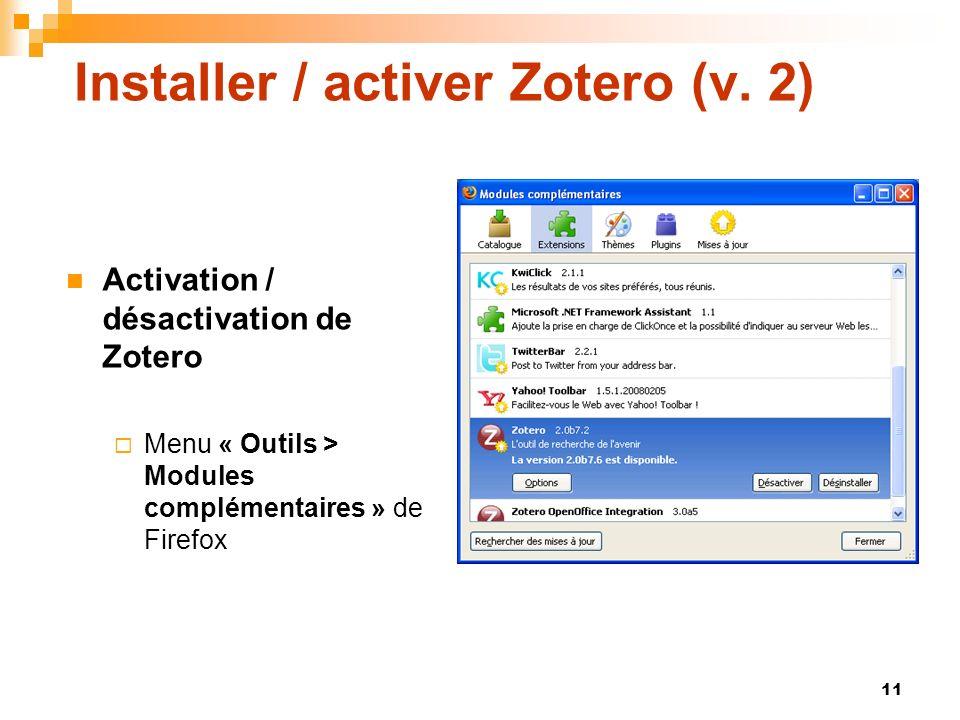 Installer / activer Zotero (v. 2)