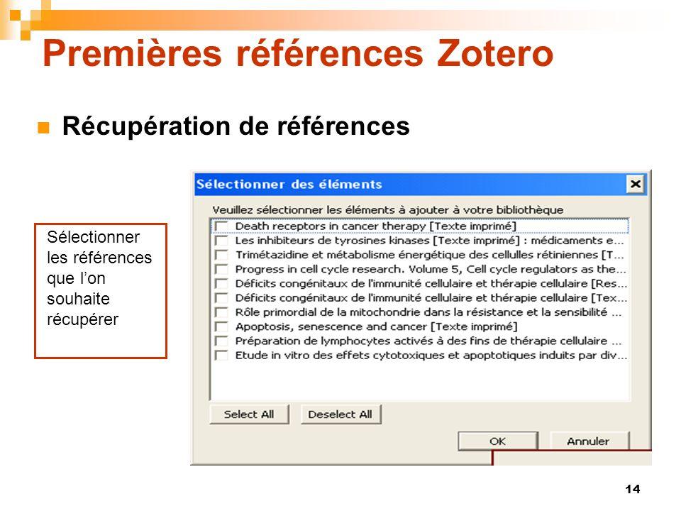 Premières références Zotero