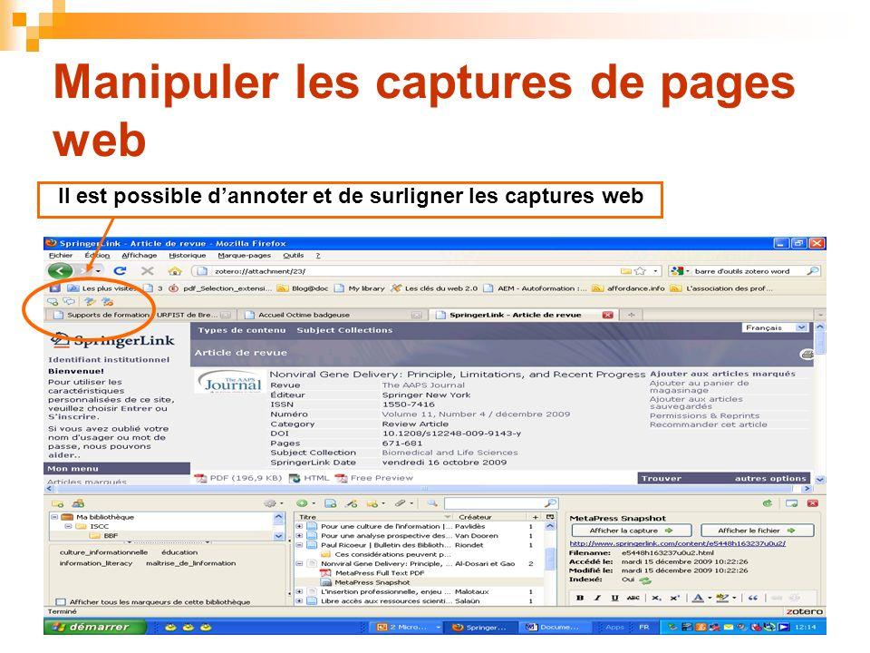 Manipuler les captures de pages web