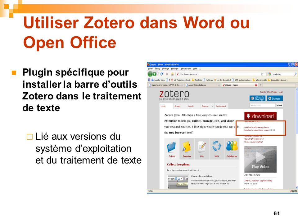 Utiliser Zotero dans Word ou Open Office