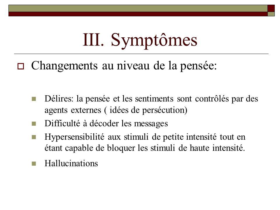III. Symptômes Changements au niveau de la pensée: