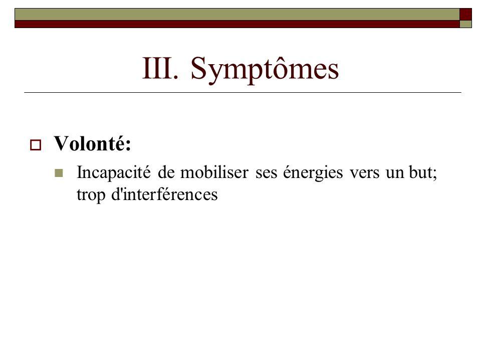 III. Symptômes Volonté: