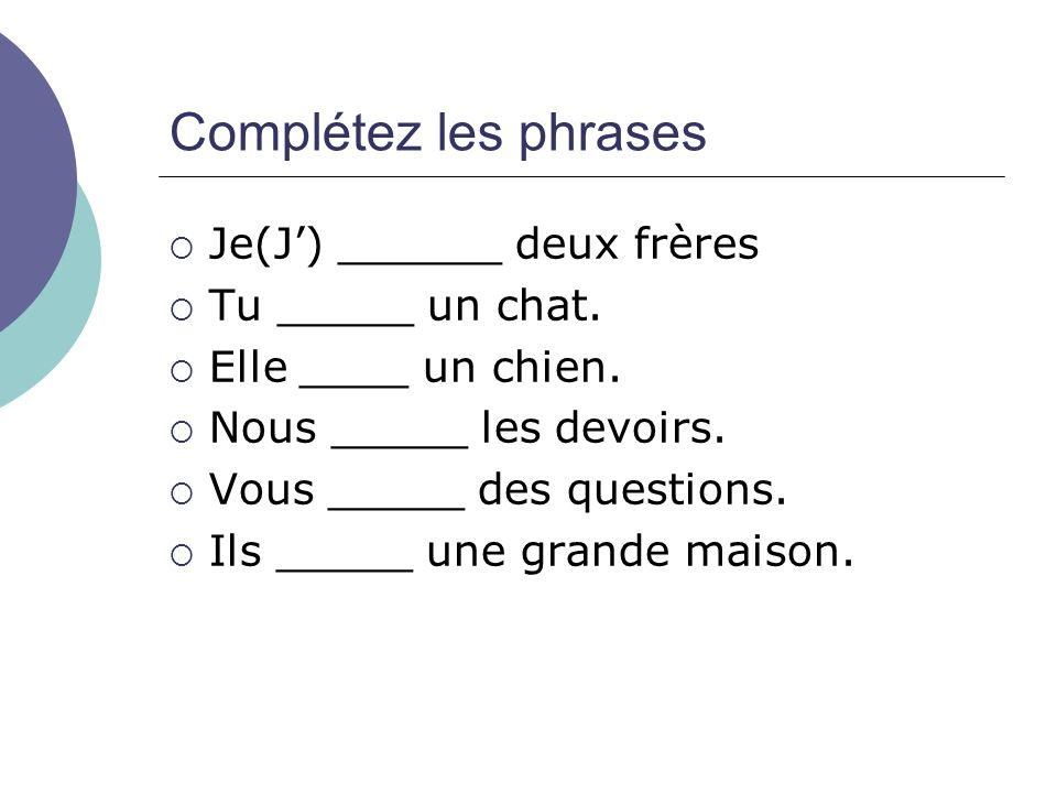 Complétez les phrases Je(J') ______ deux frères Tu _____ un chat.