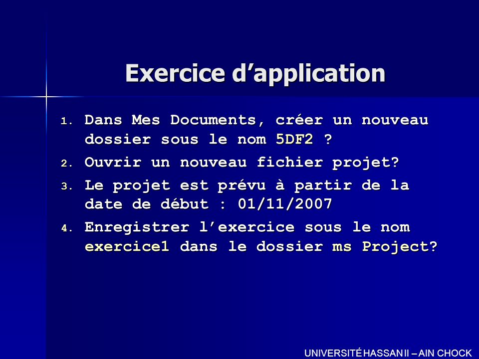 Exercice d'application