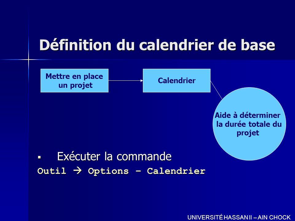 Définition du calendrier de base