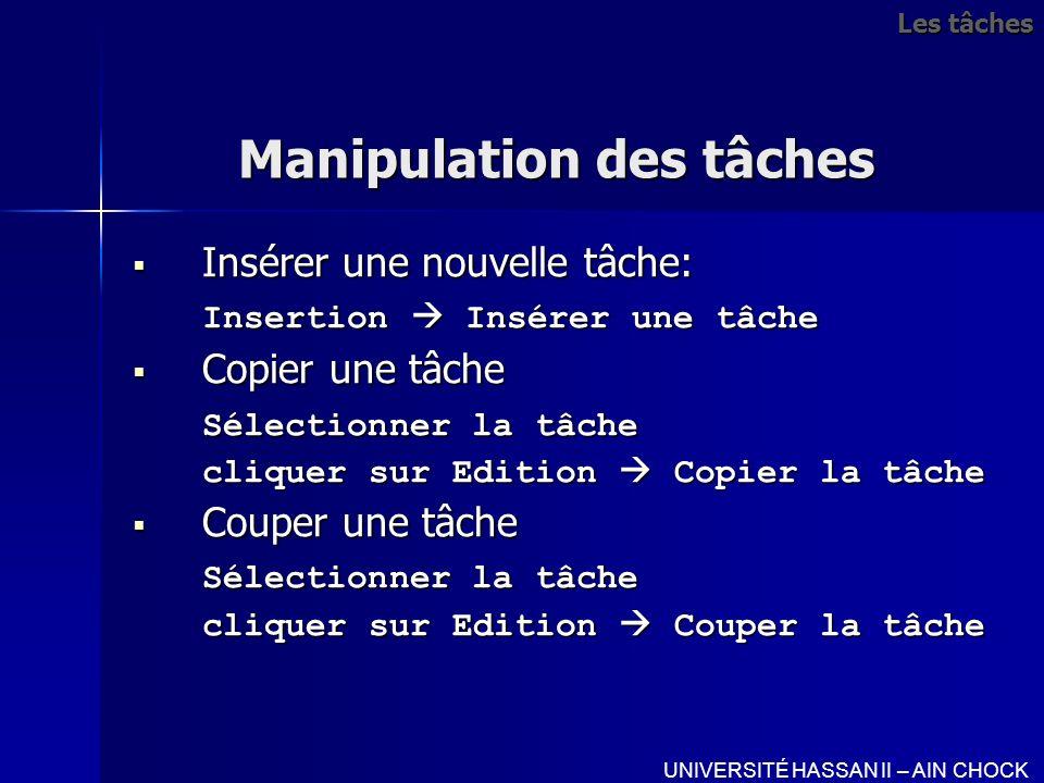 Manipulation des tâches