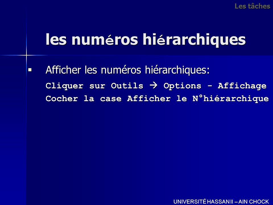 les numéros hiérarchiques