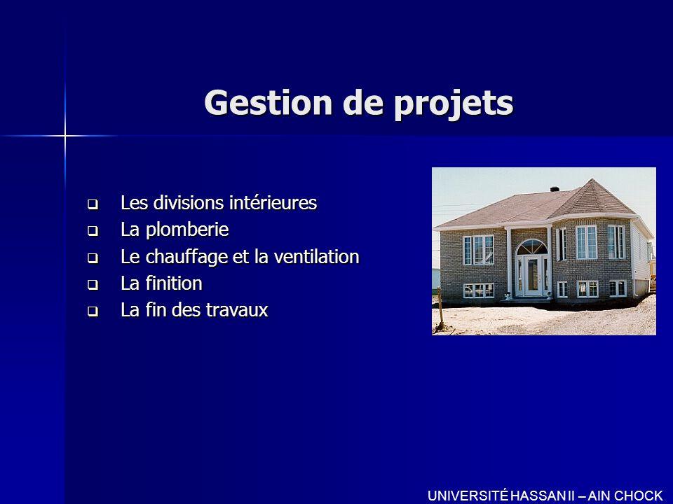 Gestion de projets Les divisions intérieures La plomberie