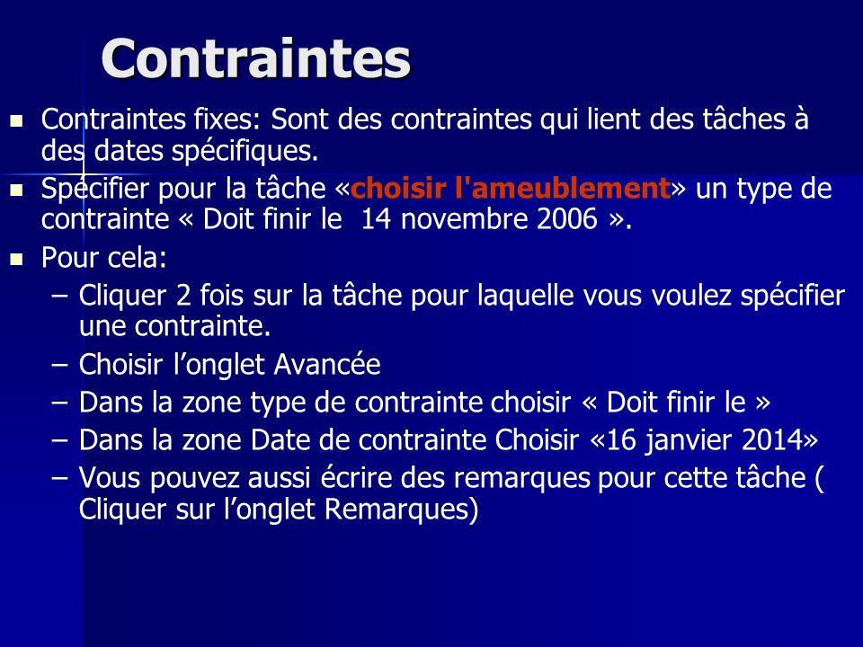 Contraintes Contraintes fixes: Sont des contraintes qui lient des tâches à des dates spécifiques.