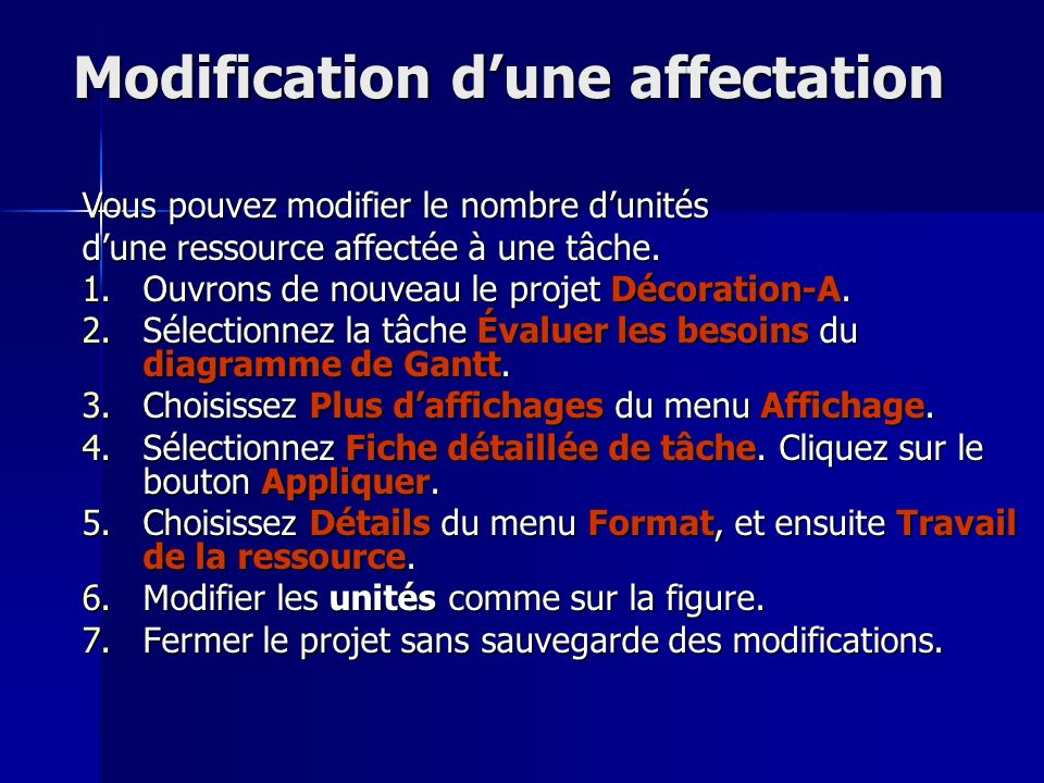 Modification d'une affectation