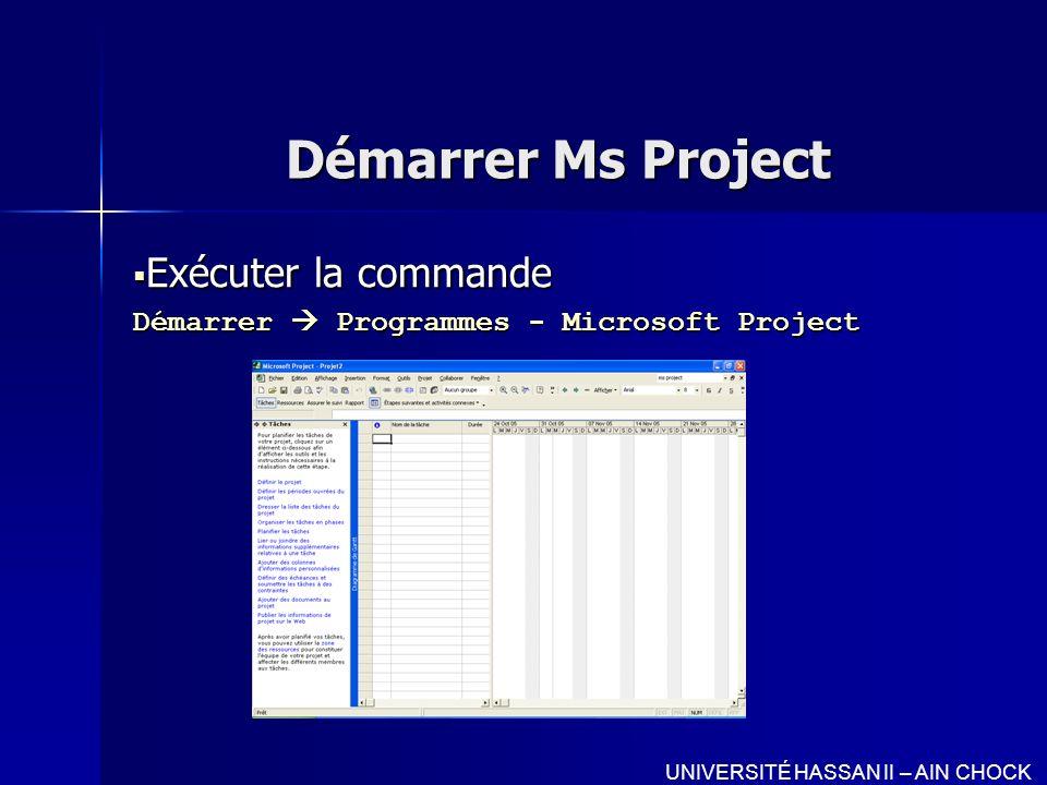 Exécuter la commande Démarrer  Programmes - Microsoft Project