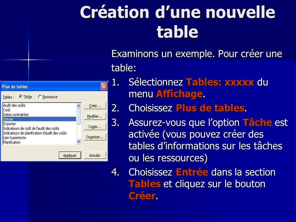 Création d'une nouvelle table